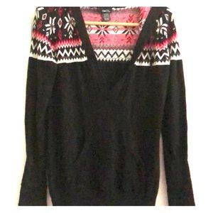 Rue 21 black patterned knitted hoodie XL